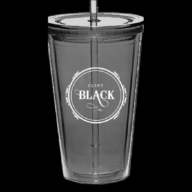 Clint Black Acrylic Black Tumbler w/ Straw