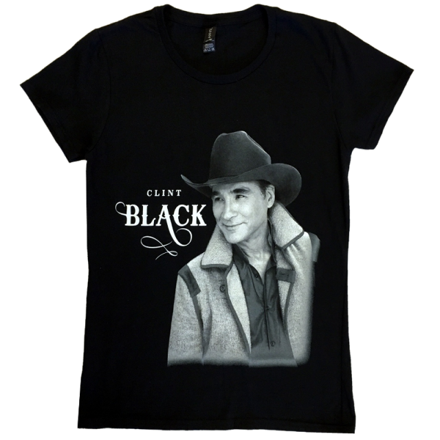Clint Black Ladies Black Photo Tee