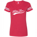 Clint Black Red and White V Neck Football Jersey Tee